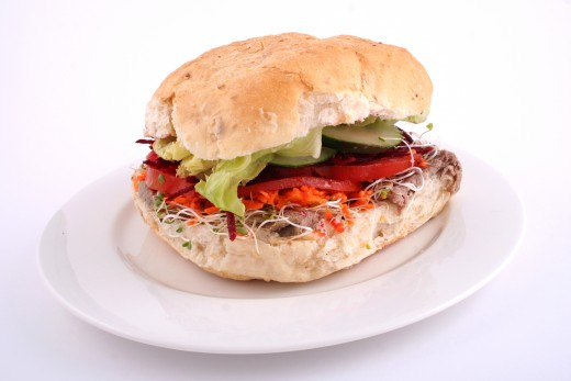 Meat Sandwich Roll with Lots of Veggies from Dreamstime.com