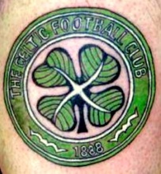 Next of my football tattoos is the mighty Celtic, one of the top two teams