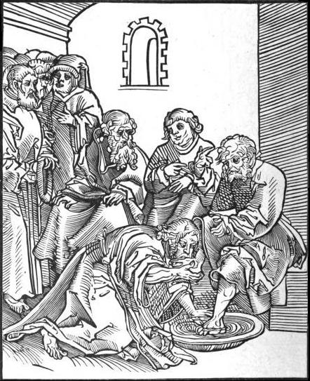 Christus, by the Lutheran Lucas Cranach the Elder. This woodcut of John 13:14-17 is from Passionary of the Christ and Antichrist. From Wikipedia