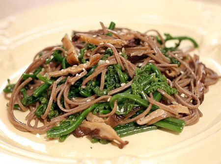 Buckwheat Soba Noodles with Fern Tips