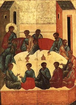 The Last Supper - Russian icon. 1497 - Out of copyright