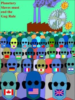 Political poster depicting the hidden bondage of minorities around the world.