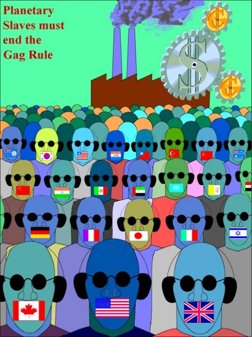 Political poster depicting the hidden bondage of minorities around the world.