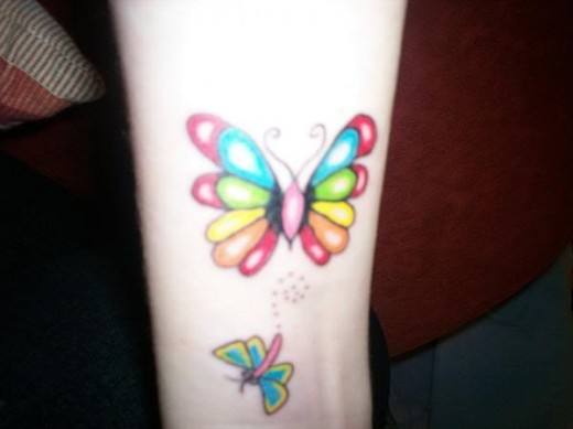 The first tattoos on wrist is a pretty lil butterfly one, I likes the wrist