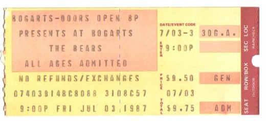 The Bears 1987. Adrian Belew grew up here and I've seen him probably more than anyone else live.