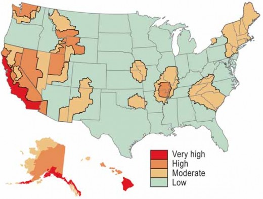 Seismic zoning in US