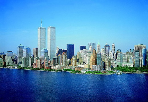 New York City with the original World Trade Towers still in place.