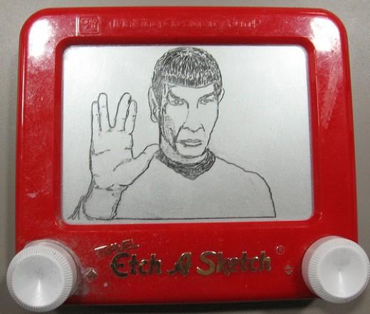 Mr Spock drawn on 1960's toy Etch a Sketch
