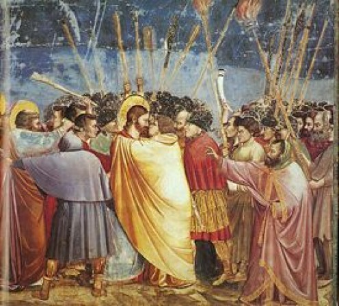 """The Kiss of Judas"" is a traditional depiction of Judas by Giotto di Bondone, c. 1306. Fresco in the Scrovegni Chapel, Padua"