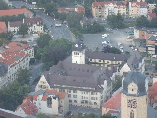 View of the university and opposite is the Schwarzer Br Hotel