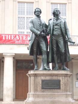 Statues of Goethe and Schiller in Weimar