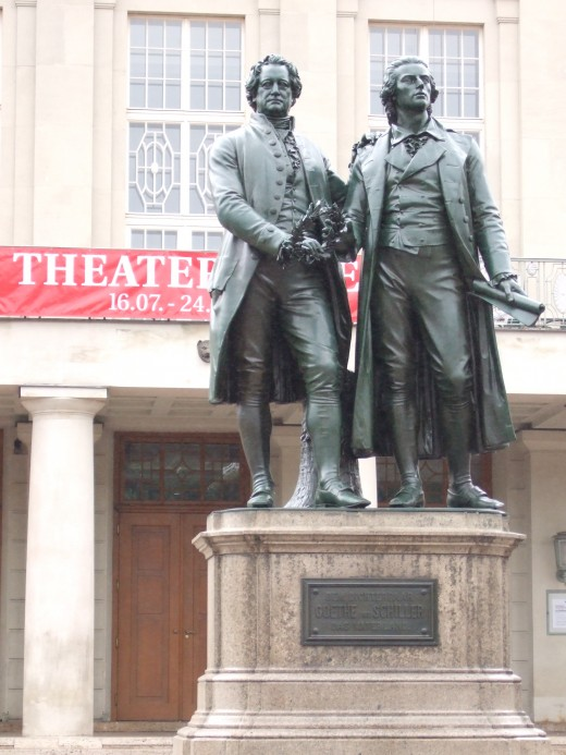 Statues of Goethe and Schiller in Weimar