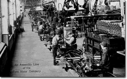Assembly line production in Ford Motors
