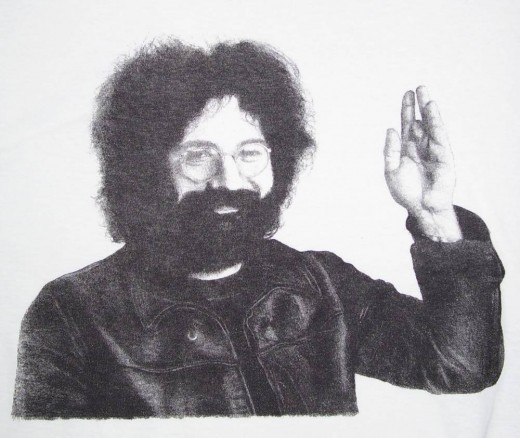 Pencil drawn artwork of Jerry Garcia that I printed posters and t-shirts from.