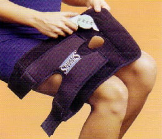 A hinged knee brace