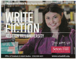 Ad for Seton Hill University's Writing Popular Fiction Graduate Program featuring Heidi Ruby Miller.