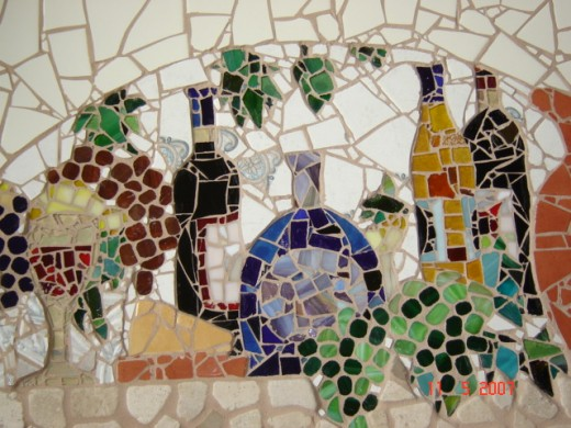 Country Wine Scene ceramic, stone and stained glass