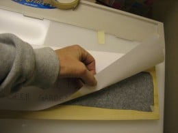 put the carbon paper between the wood and the paper design