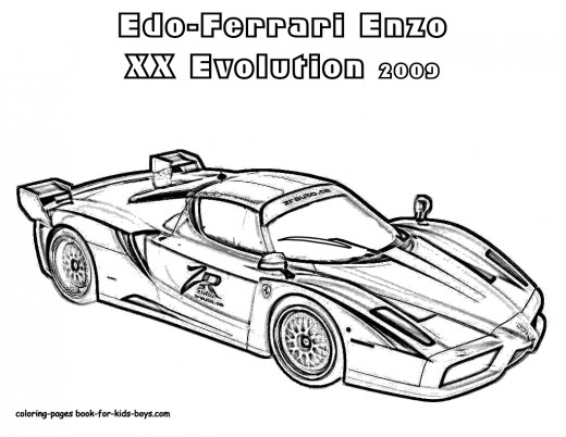 Classic Sport Cars Kids Coloring Pages with Free Colouring Pictures to Print- Ferrari Enzo XX