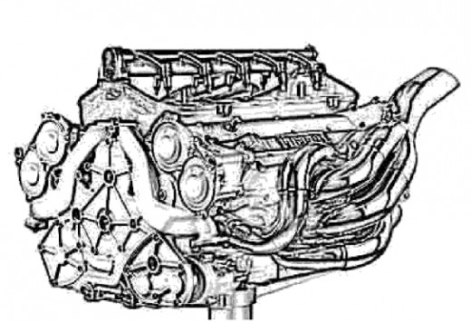 Classic Sport Cars Kids Coloring Pages with Free Colouring Pictures to Print- Ferrari F1 Engine Block