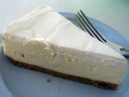 A slice of Three Cities of Spain cheesecake.