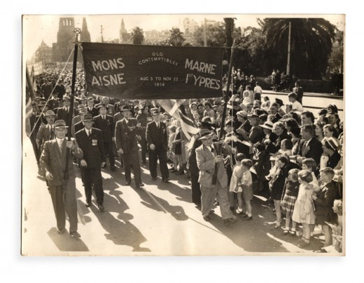 Anzac Day marchers, appeared in newspaper circa 1955