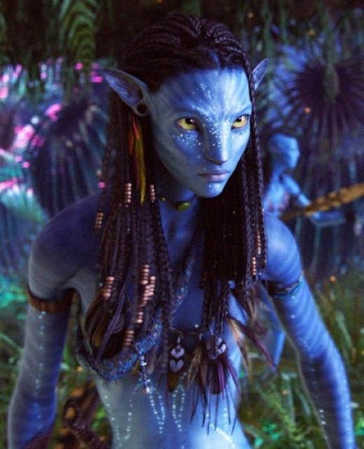 Zoe Saldana as Neytiri in Avatar 3D movie