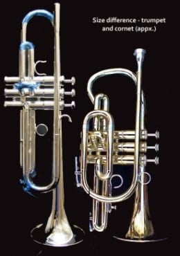Note: The trumpet (left) is taller than a cornet.