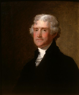 Thomas Jefferson/Portrait by Gilbert Stuart, c.1821 Source: National Gallery of Art, Washington