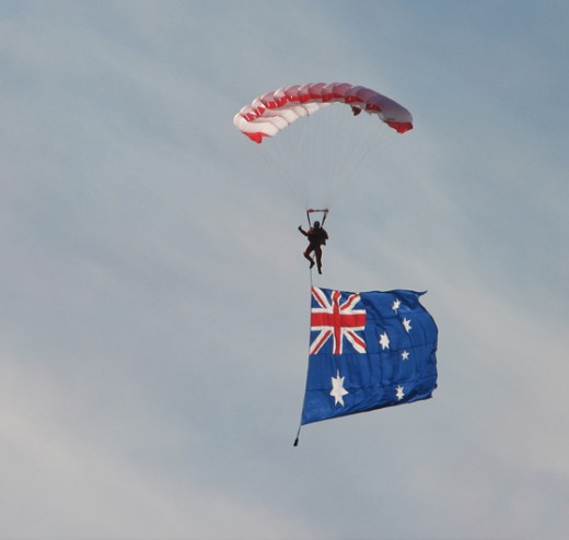 Aussie Flag flying high! coming in to land at the MCG.