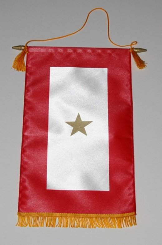 This is typical of a service banner made by a Gold Star mother.