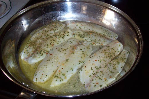The tilapia cooking. Yum!
