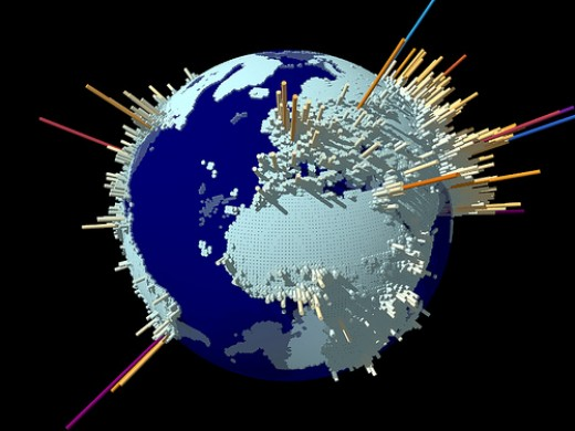 Population density around the globe.