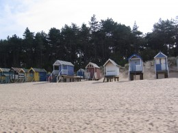 The little beach huts before the woods