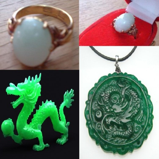Jade rings and Chinese jade dragon