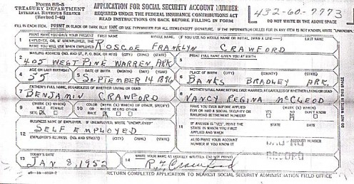 Social Security Application from 1952