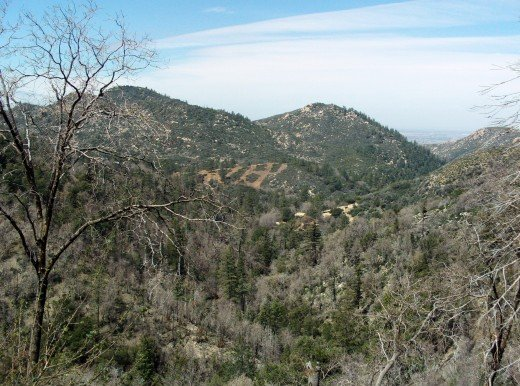 This photo shows the San Bernardino Mountains on the backside looking down towards Hesperia.
