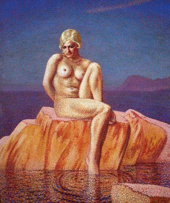 Girl on a Pink Rock