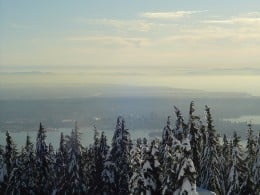 View of Vancouver from the top of Grouse Mountain. You can see Stanley Park in the foreground and downtown Vancouver just behind.