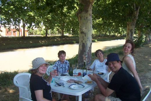 Enjoying one of our lunches next to the canal