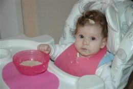 Maya's first taste of oats!