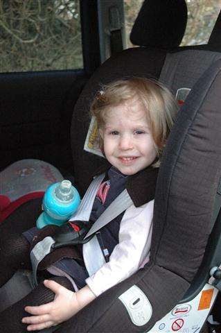 Maya very happy rear facing in her car seat