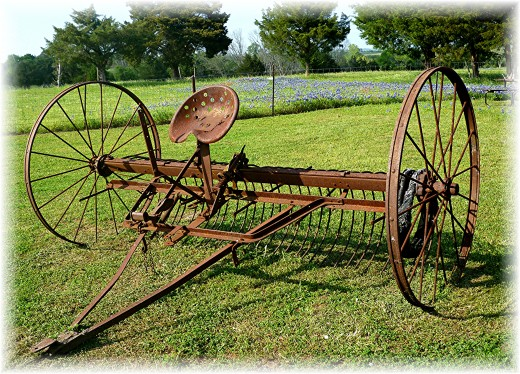 An old harrow - farm implement used as decor at Windy Winery