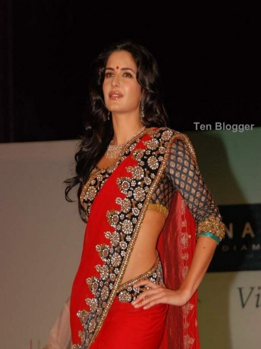 Katrina in stunning red saree