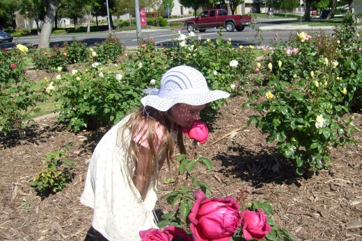 Mary Stopping To Smell The Roses