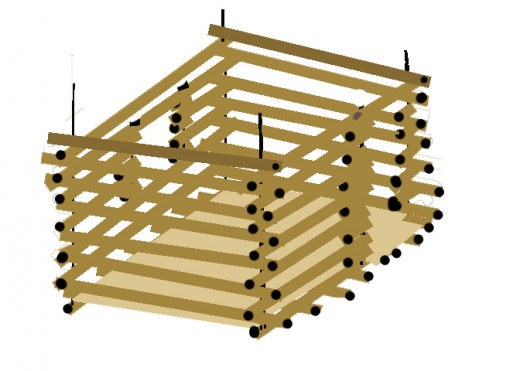 Lay front to back timbers.