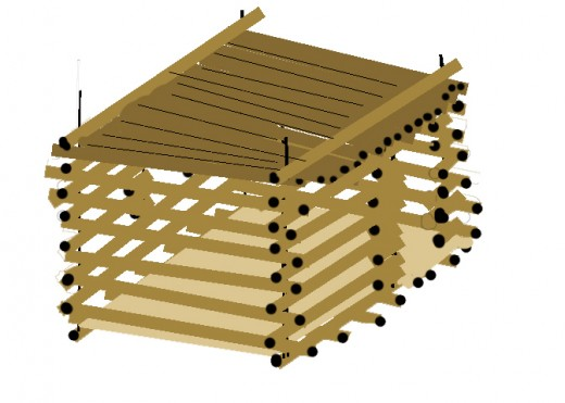 Cap the roof timbers with two side to side full length timbers. Hold roof timbers in place with 6 inch nails.
