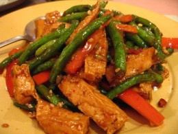 Chinese Green Beans with Fried Tofu and Bell Pepper (Flickr)