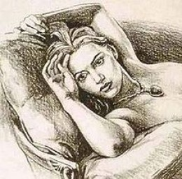 Nude portrait of Rose wearing 'the heart of the ocean' James Cameron drew this portrait himself