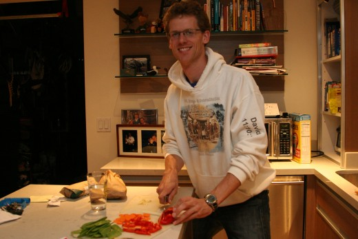 David chopping vegetables